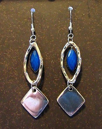 Royal Blue Stone Drops with Silver Accents