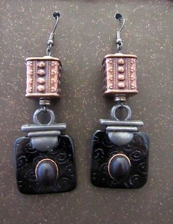 Tribal Look Mixed Metal Earrings with Black Drops