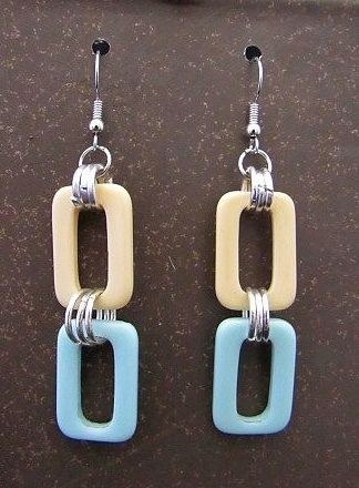 Vintage Off White & Blue Rectangles with Silver Jump Rings Earrings