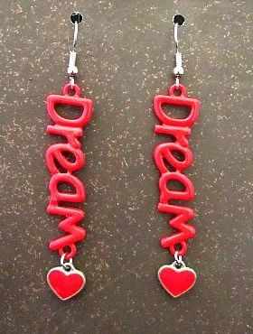 Dream Charms with Red Heart Accent Dangle Earrings