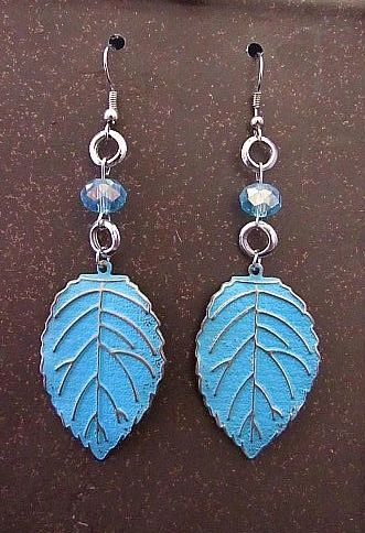 Blue & Silver Leaf Charms with Matching Blue Beads Earrings