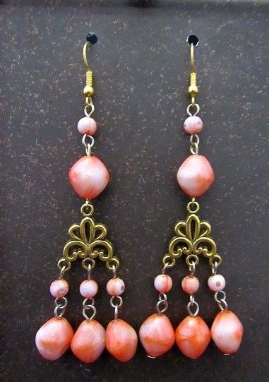 Gold Chandeliers with Peach Beaded Drops Earrings