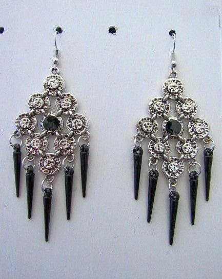 Large Silver Chandeliers with Black Accent & Black Spikes Earrings