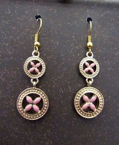 Pink & Gold Flower Charm Dangle Earrings