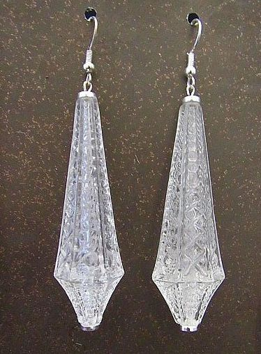 Faux Etched Crystal Lucite Dangle Earrings
