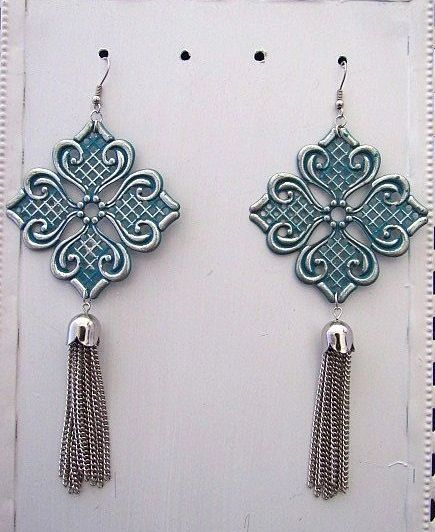 Large Silver Charms with Green Patina & Silver Tassel Earrings