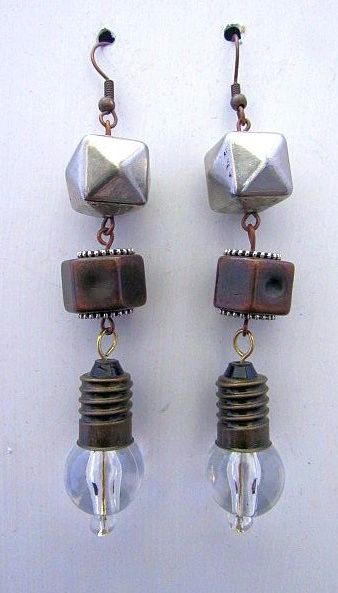Steampunk Lightbulb Earrings with Geometic Bead Accents