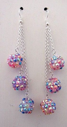 Pink & Blue Glittery Bead Trio Dangles Earrings