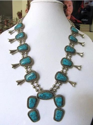 Signed Piece - Goldette - Faux Turquoise Squash Blossom Necklace