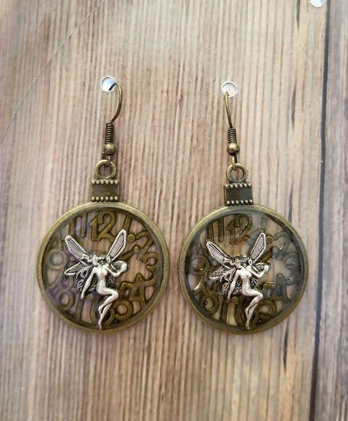 Mixed Metals Fairy Clockface Steampunk Earrings
