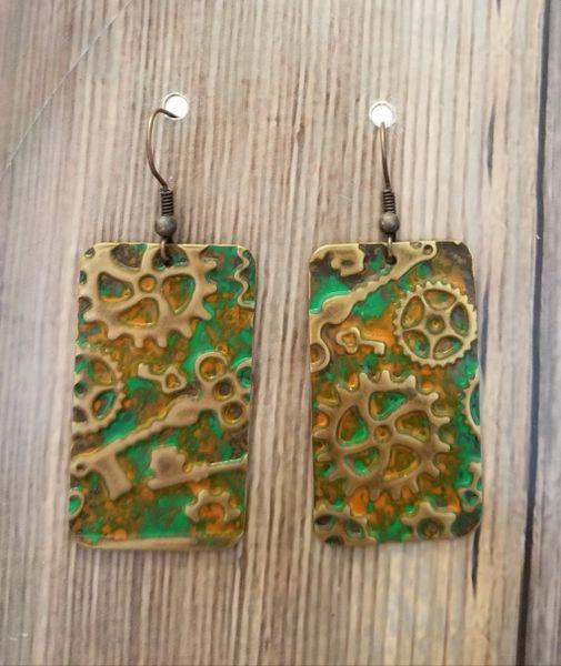 Handcrafted Green & Orange Gear Steampunk Earrings