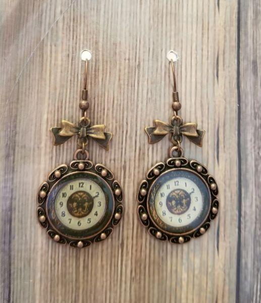 Copper Clock & Bow Steampunk Earrings