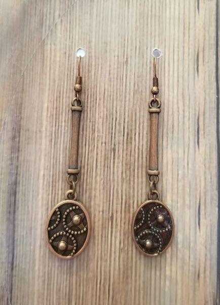 Delicate Copper Gear Dangle Earrings