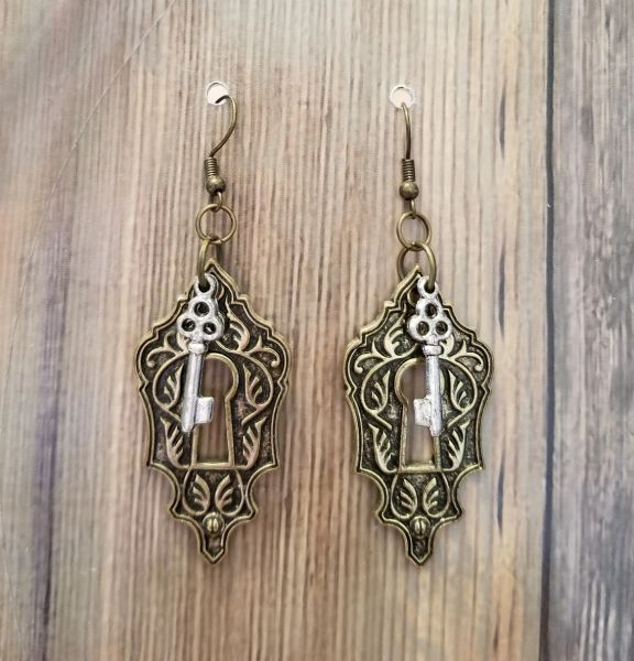 Mixed Metals Keyhole & Key Steampunk Earrings