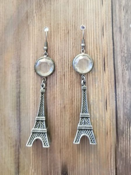 Steampunk Eiffel Tower & Crystal Earrings