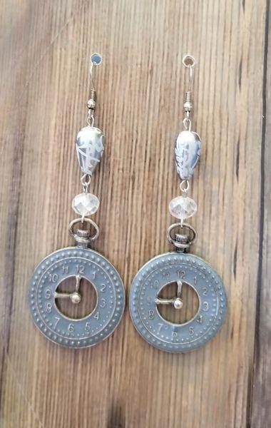Fancy Silver Toned Steampunk Clock Earrings