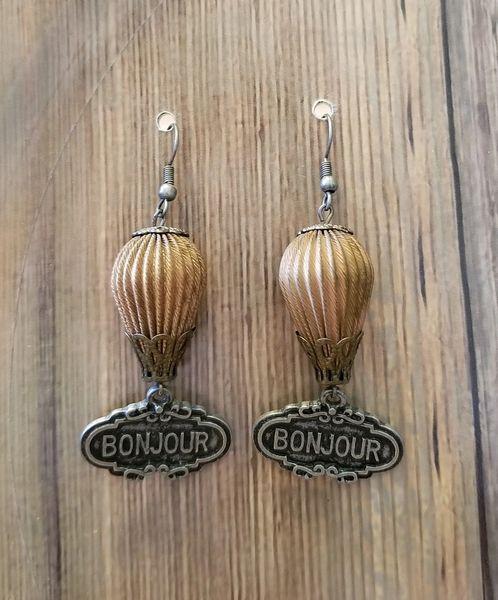 Hot Air Balloon Bonjour Paris Steampunk Earrings