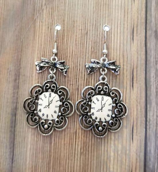 Fancy Silver Clocks & Bows Earrings