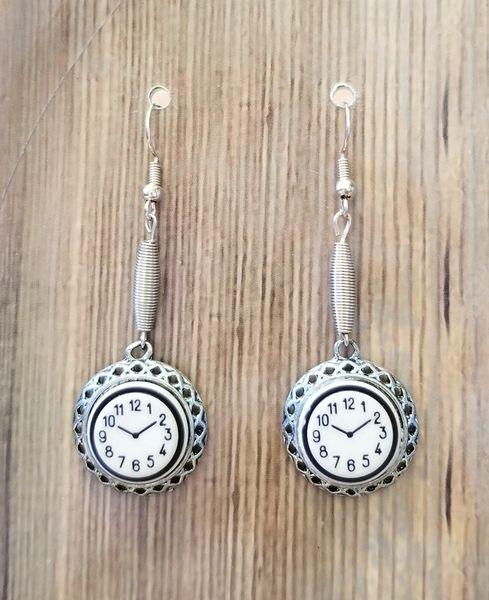 Cute Little Clockface Steampunk Earrings