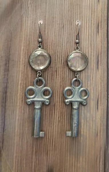 Vintage Keys & Crystals Steampunk Earrings