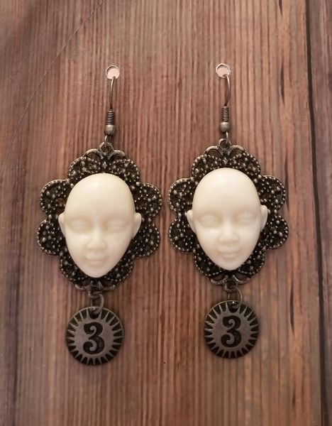 Creepy White Face & Number Tag Earrings Steampunk