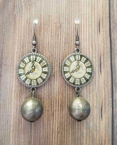 Steampunk Solver Clock & Ball Dangle