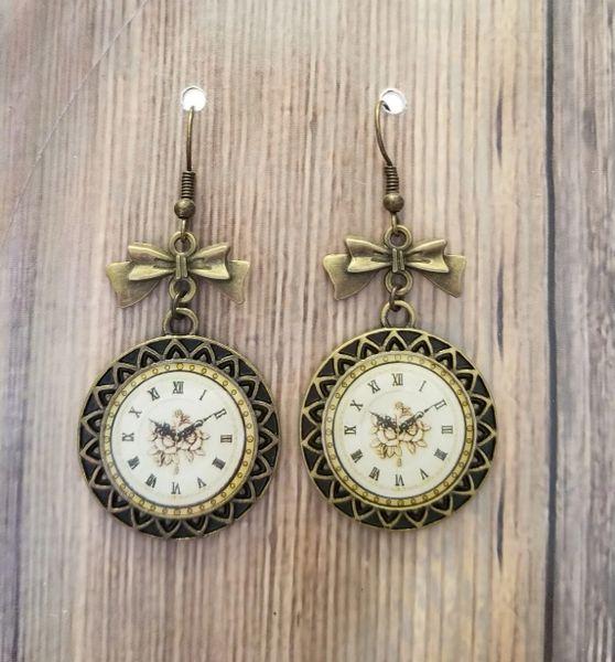 Gold Tone Clocks & Bows Steampunk Earrings