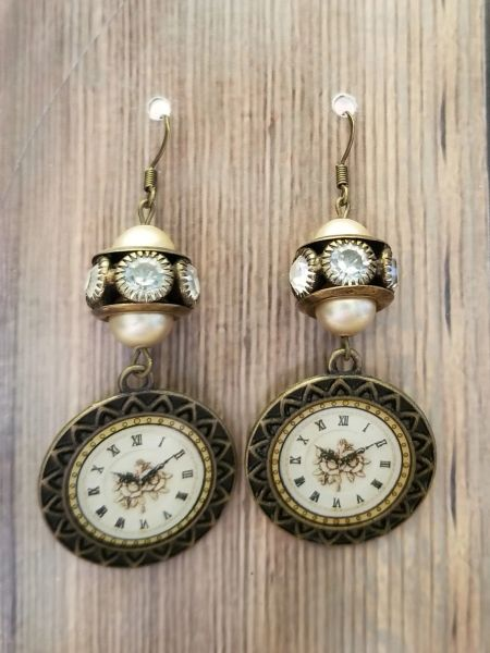 Ornate Clockface Earrings with Faux Pearl & Rhinestone Accents Steampunk