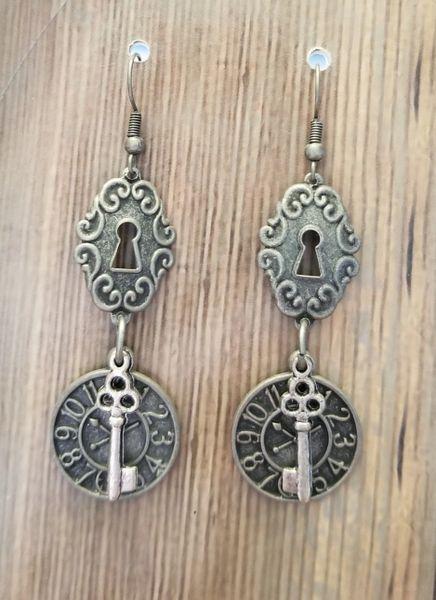 Silver Toned Steampunk Lock, Clock & Key Earrings