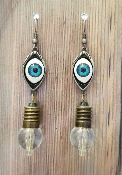 Steampunk Eyeball & Lightbulb Earrings