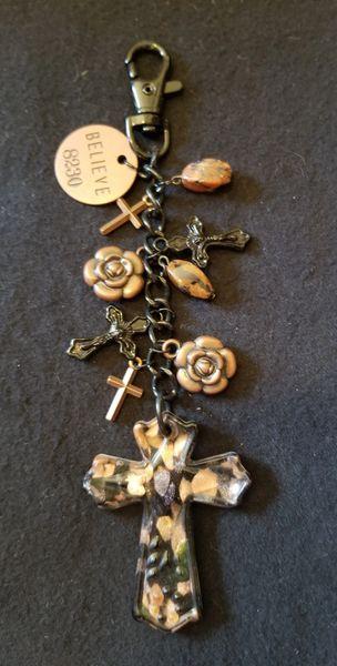 Black & Copper Cross Spiritual Purse Charm
