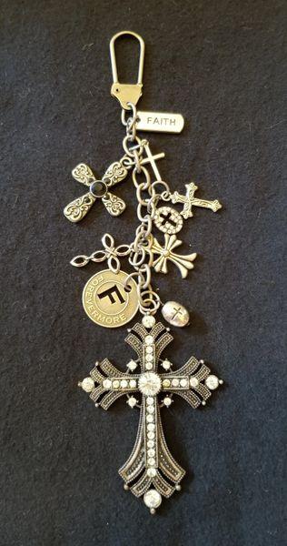 Silver Crosses Purse Charm