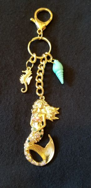 Gorgeous Golden Mermaid Purse Charm