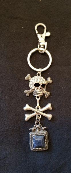 Rhinestone Pirate Skull Purse Charm