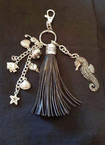 Silver Seahorse & Tassel Purse Charm