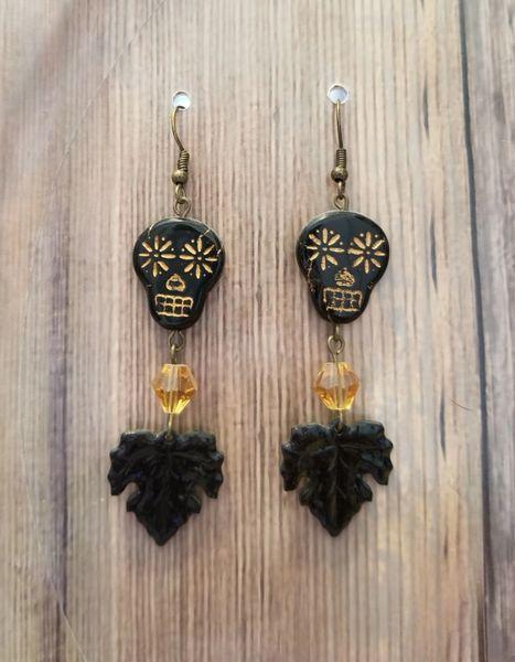 Black & Gold Skull Leaf Boho Earrings