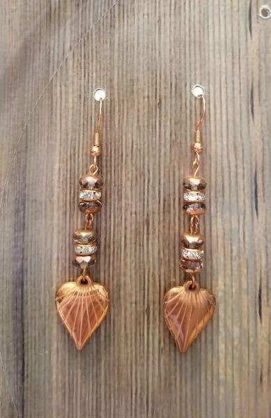 Romantic Copper Hearts & Rhinestones Boho Earrings