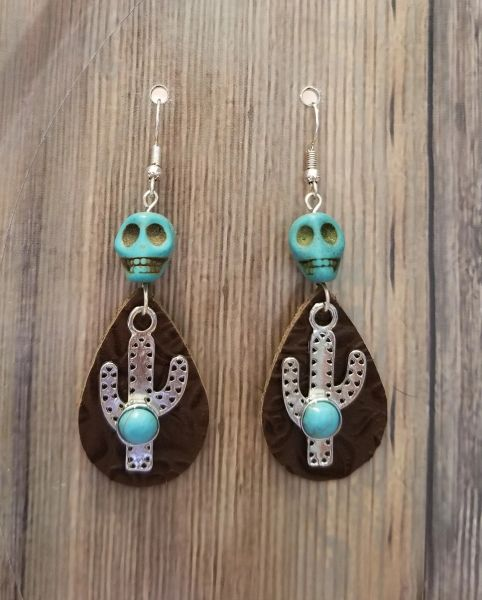 Boho Southwestern Cactus & Skull Earrings