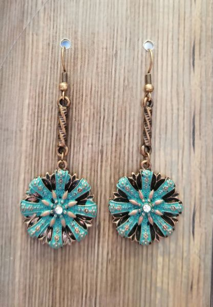 Turquoise Patina & Copper Boho Flower Earrings