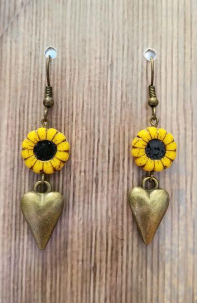 Golden Hearts & Czech Glass Sunflower Boho Earrings