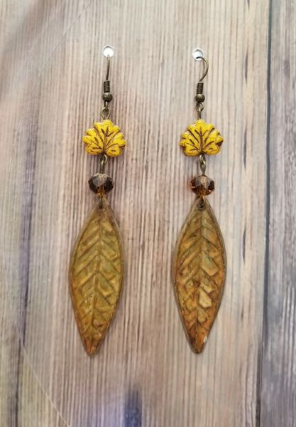 Yellow Leaf Boho Czech Glass Autumn Earrings
