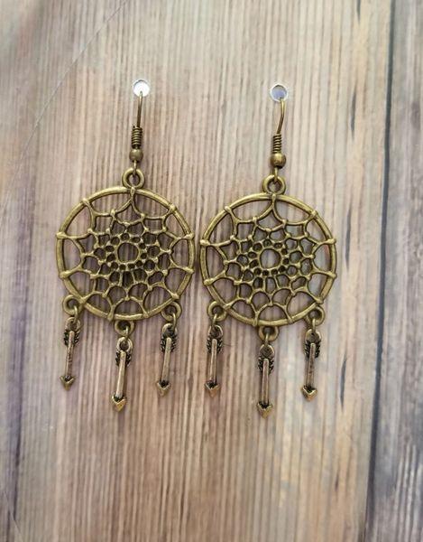 Bronze Dreamcatcher & Arrow Boho Earrings