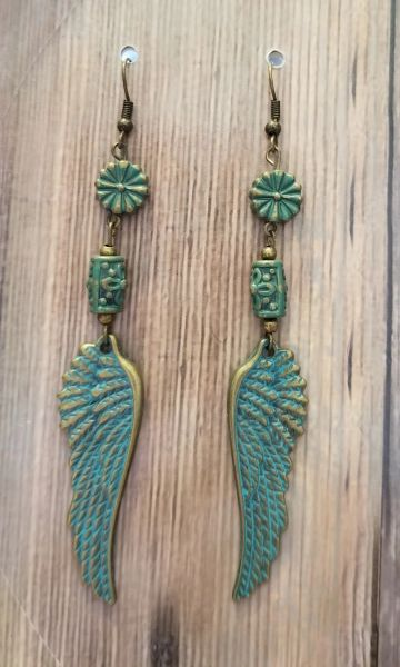Bronze Wings With Green Patina Boho Earrings