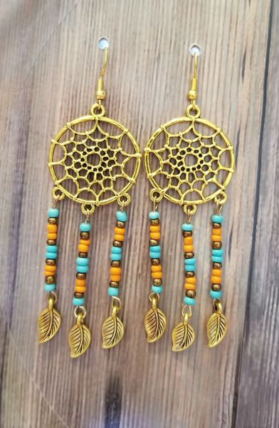 Gold Dreamcatch with Salvaged Dangles Boho Earrings