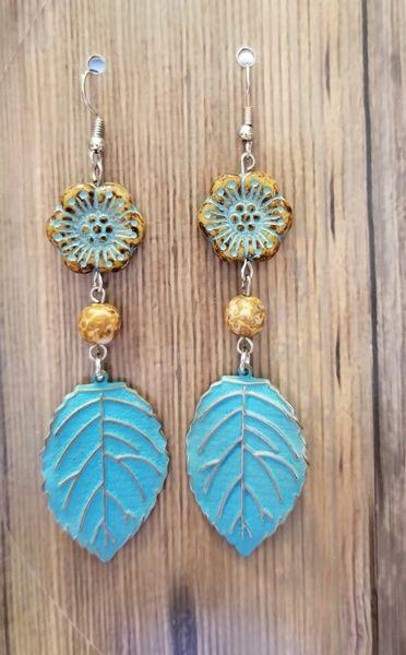 Blue & Brown Czech Glass Flowers with Leaf Dangle Earrings