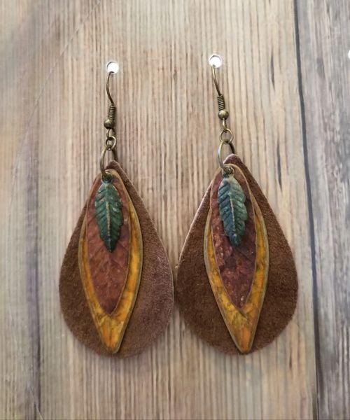 Autumn Leafs & Leather Boho Earrings