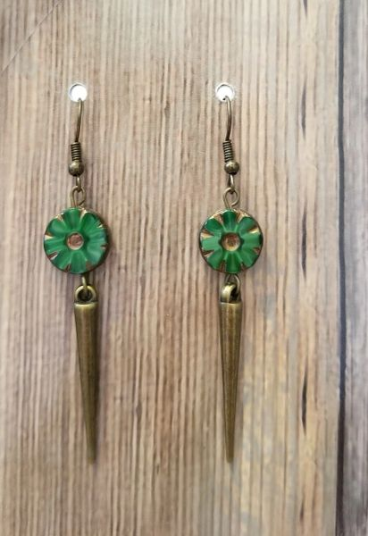 Green Czech Glass Flowers with Golden Spikes Boho Earrings