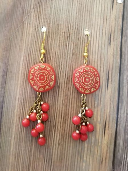 Red & Gold Etched Beads with Red Dangles Boho Tribal Earrings