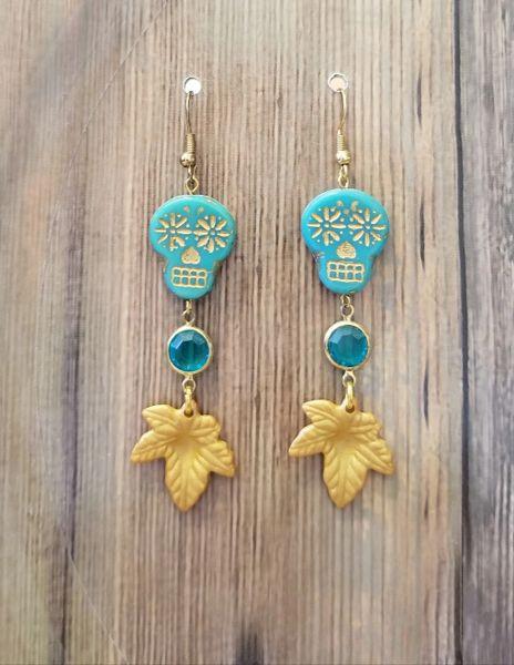 Aqua & Gold Czech Glass Skull & Leaf Dangle Boho Earrings