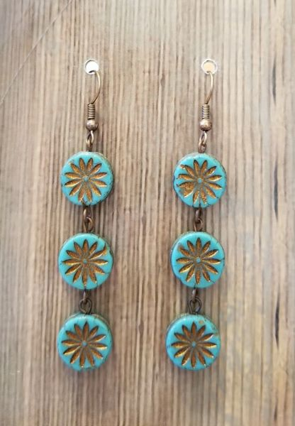 Blue & Gold Czech Glass Flower Boho Earrings
